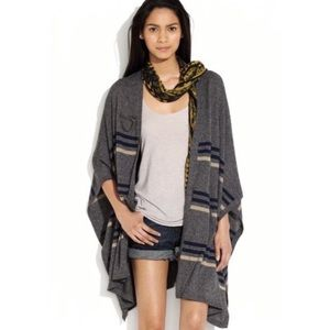 Madewell Wallace Striped Gray Poncho Sweater M/L